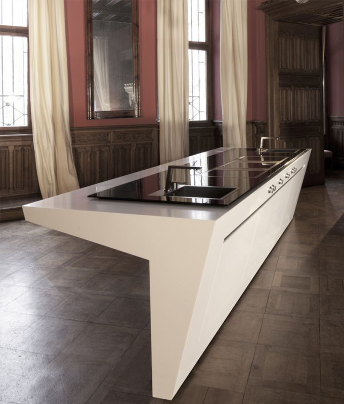 Worktop made of HI-MACS® with integrated stove
